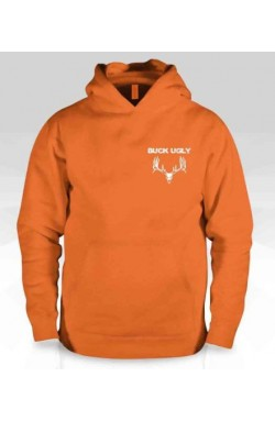 Buck Ugly Deer Hoodie Safety Orange